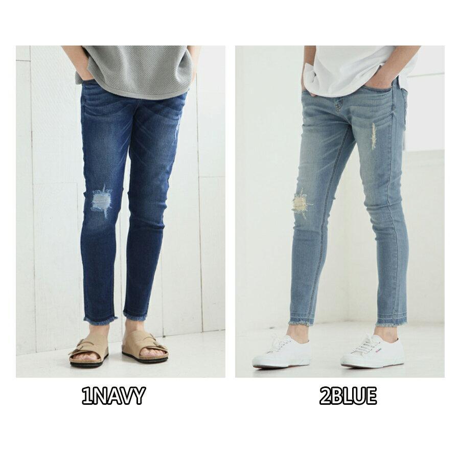 【Nilway】彈力窄管牛仔褲 破壞加工 5
