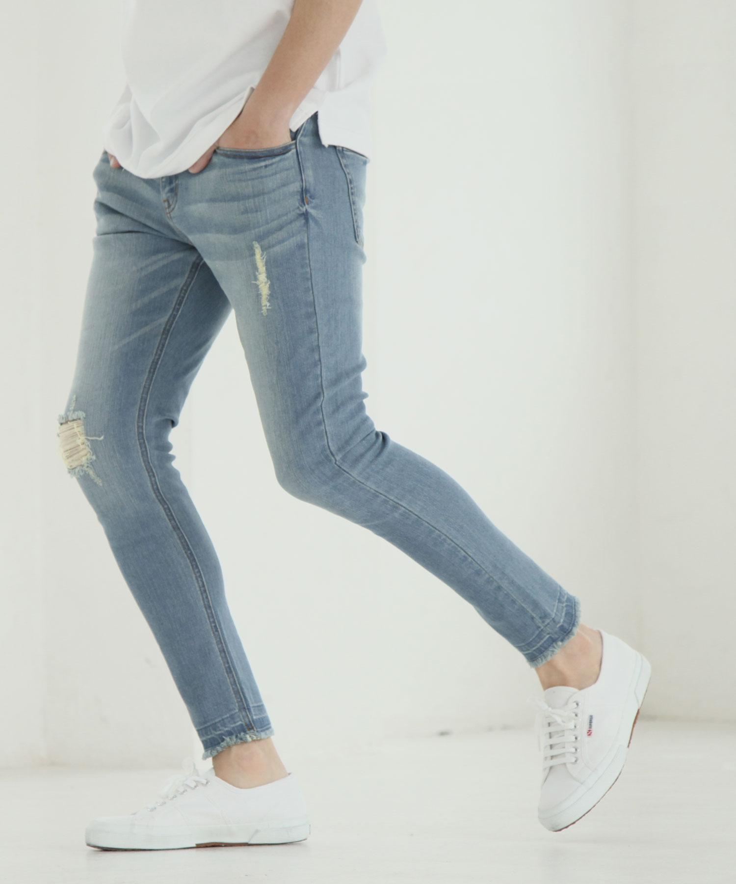 【Nilway】彈力窄管牛仔褲 破壞加工 6