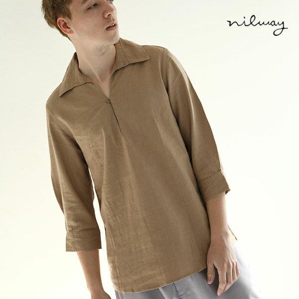 【Nilway】七分袖棉麻套頭衫 0