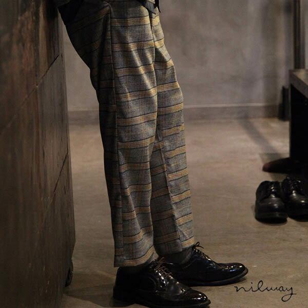 【Nilway】經典格紋錐形褲 西裝褲 0
