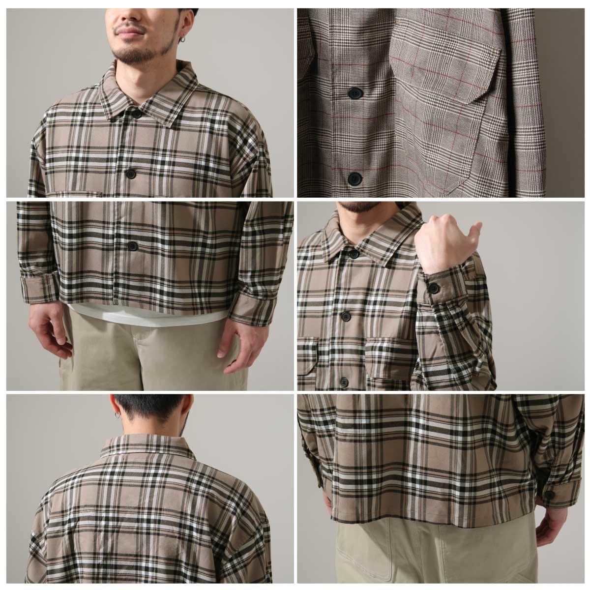 ZIP 格紋長袖襯衫 口袋設計 4