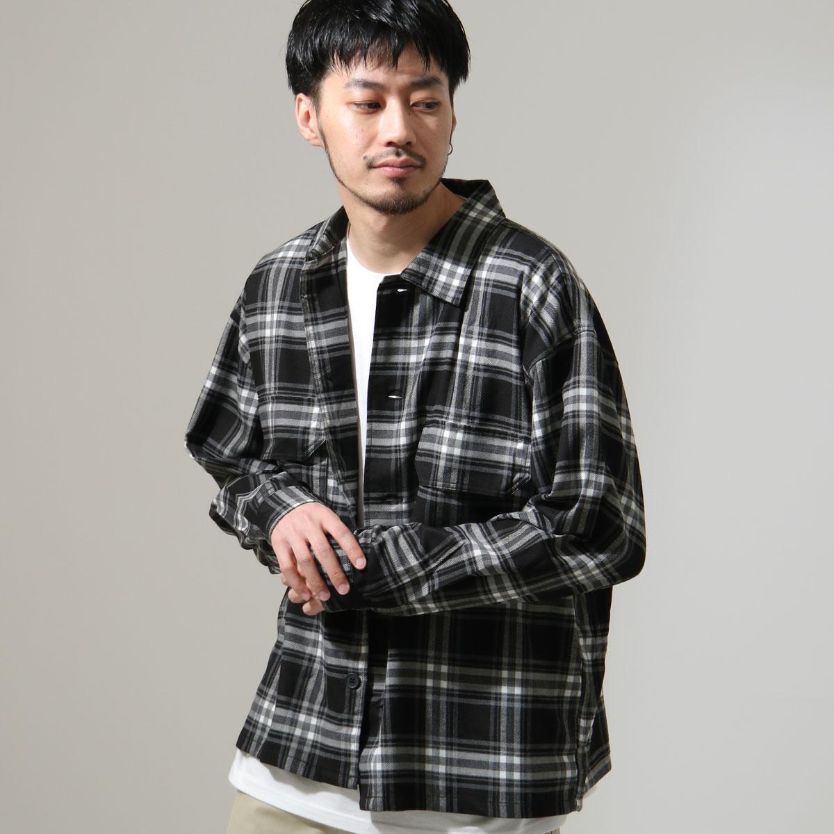 ZIP 格紋長袖襯衫 口袋設計 1