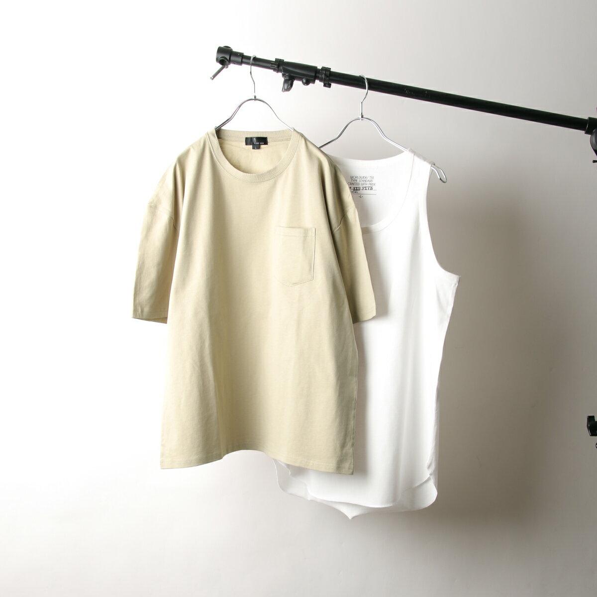 【New】五分袖T恤&長版坦克背心 兩件組 7