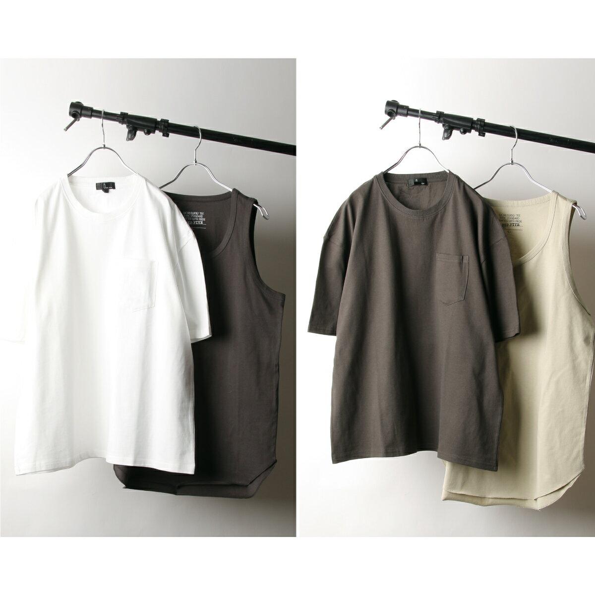 【New】五分袖T恤&長版坦克背心 兩件組 8