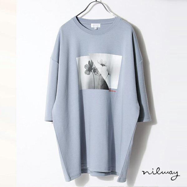 【Nilway】黑白花藝術照T恤 日系 寬版 0