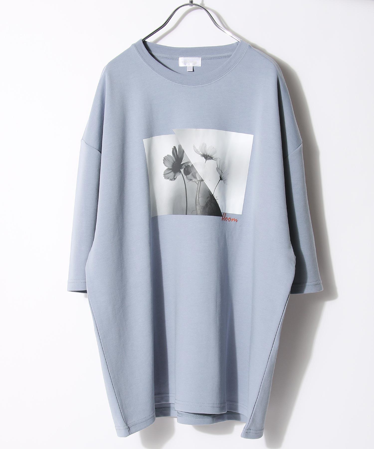 【Nilway】黑白花藝術照T恤 日系 寬版 1