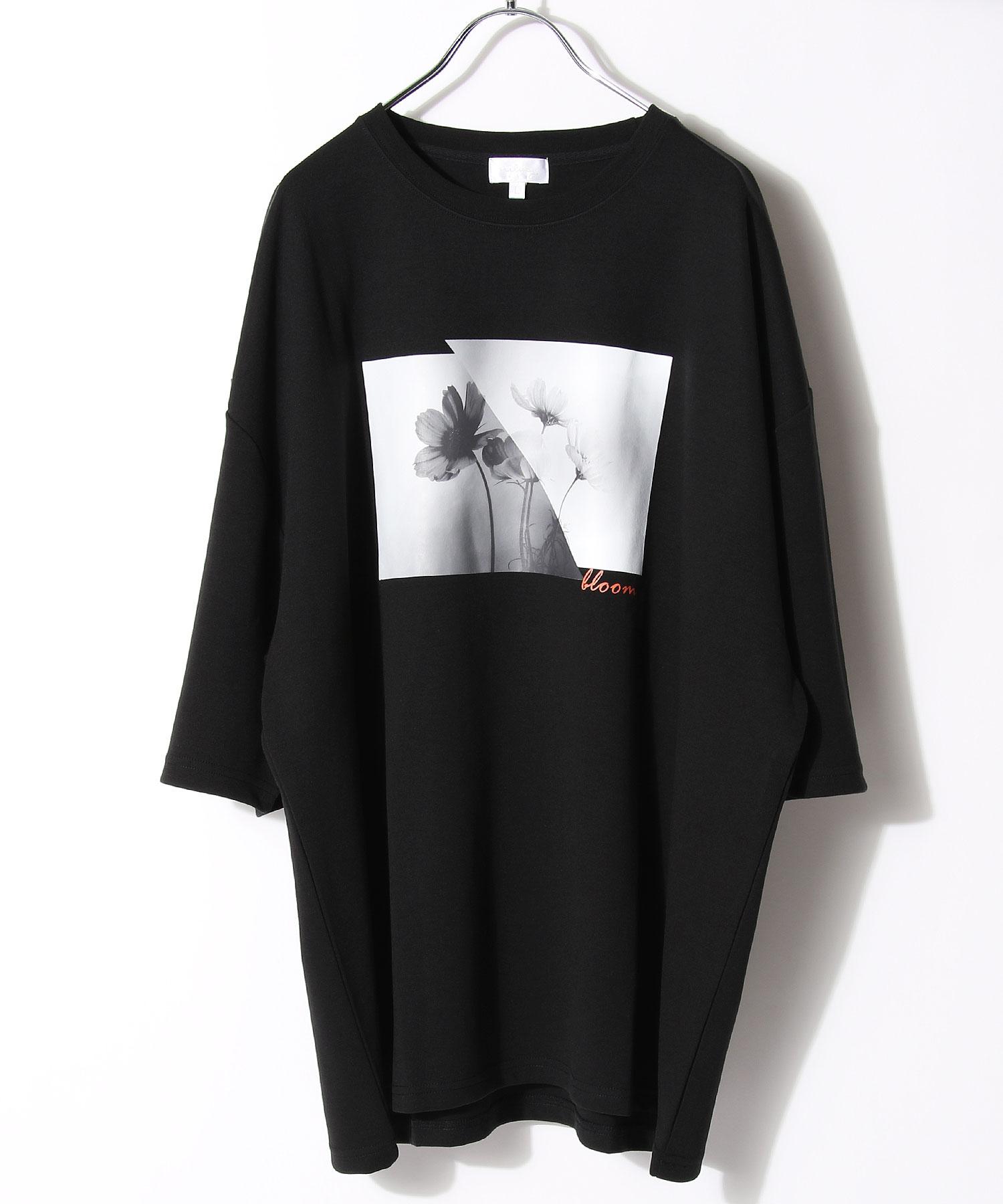 【Nilway】黑白花藝術照T恤 日系 寬版 3