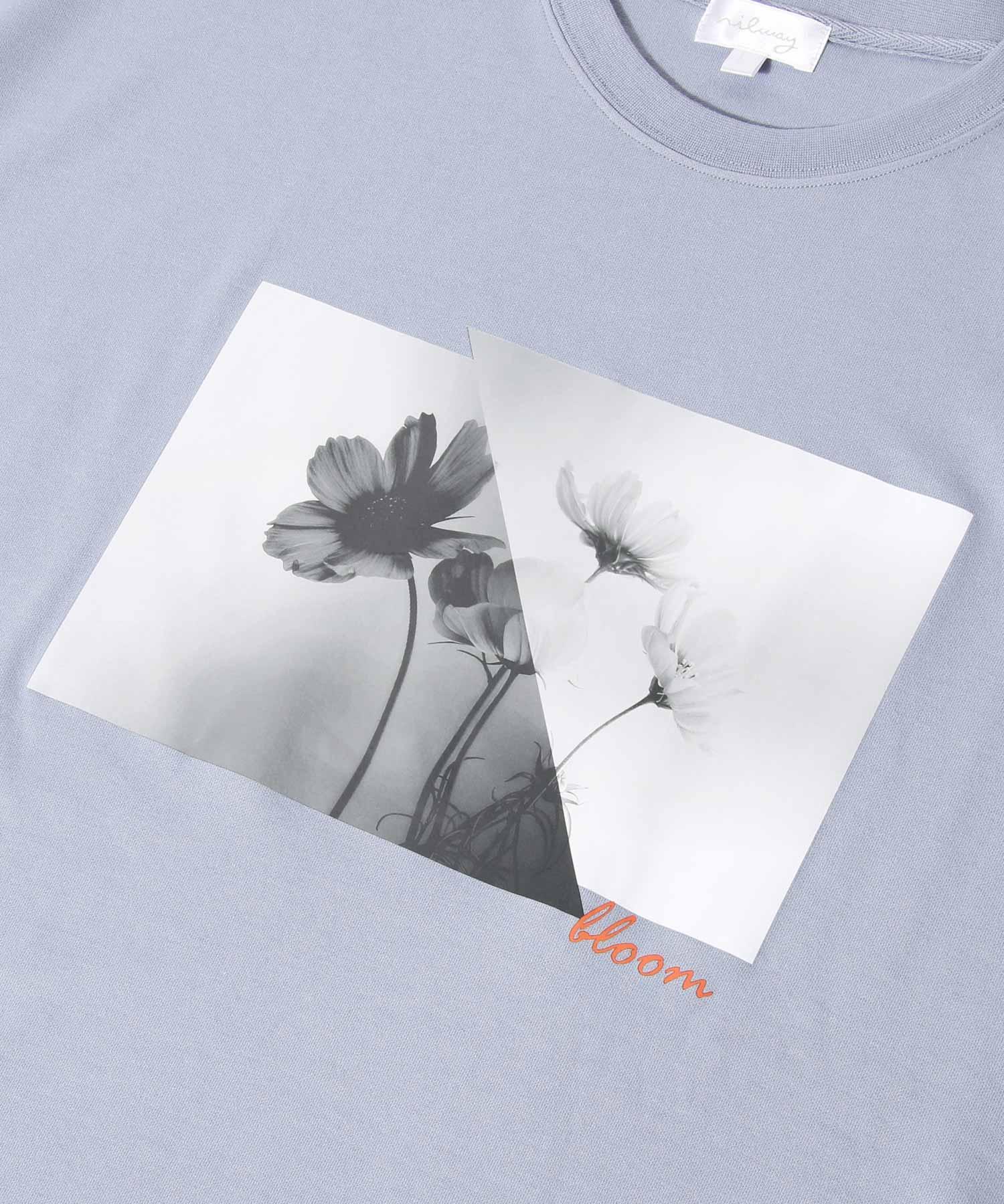 【Nilway】黑白花藝術照T恤 日系 寬版 4