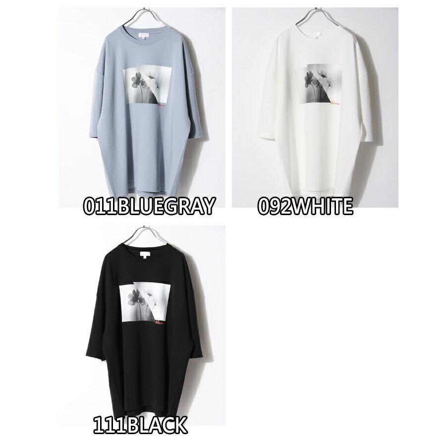 【Nilway】黑白花藝術照T恤 日系 寬版 5