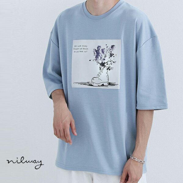 【Nilway】花藝插圖OVERSIZET恤 日系 寬版 0