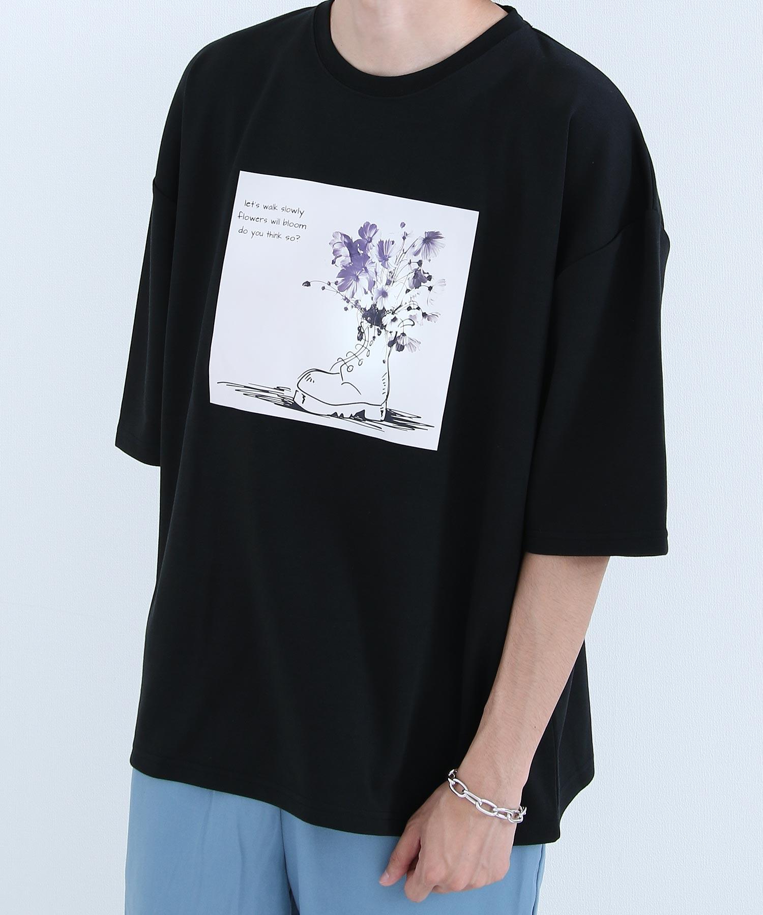 【Nilway】花藝插圖OVERSIZET恤 日系 寬版 3