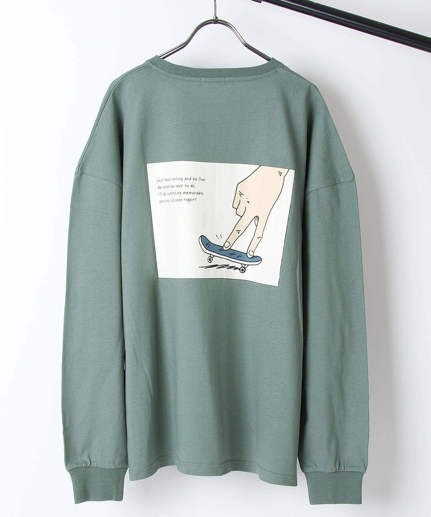 【ZIP】背面印刷長袖T恤 寬版 5
