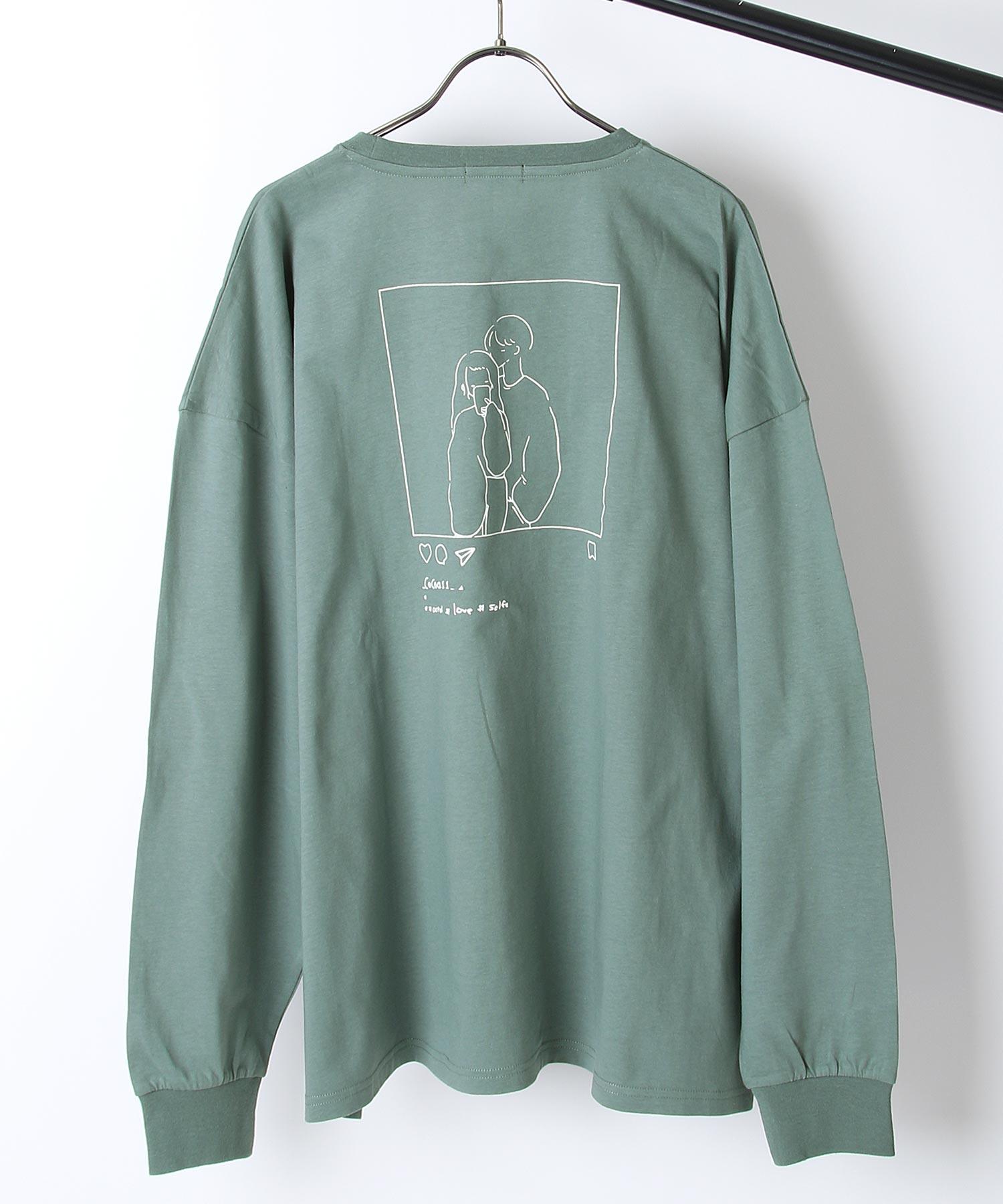 【ZIP】背面印刷長袖T恤 寬版 1