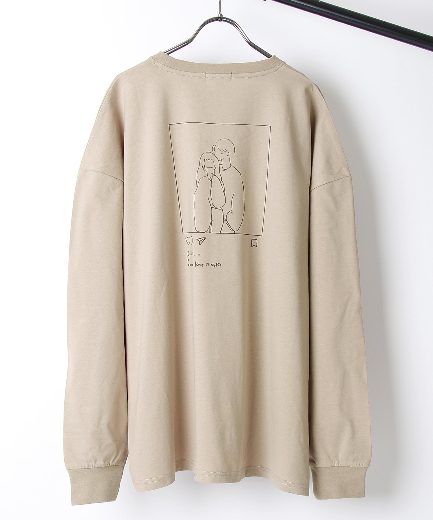【ZIP】背面印刷長袖T恤 寬版 2