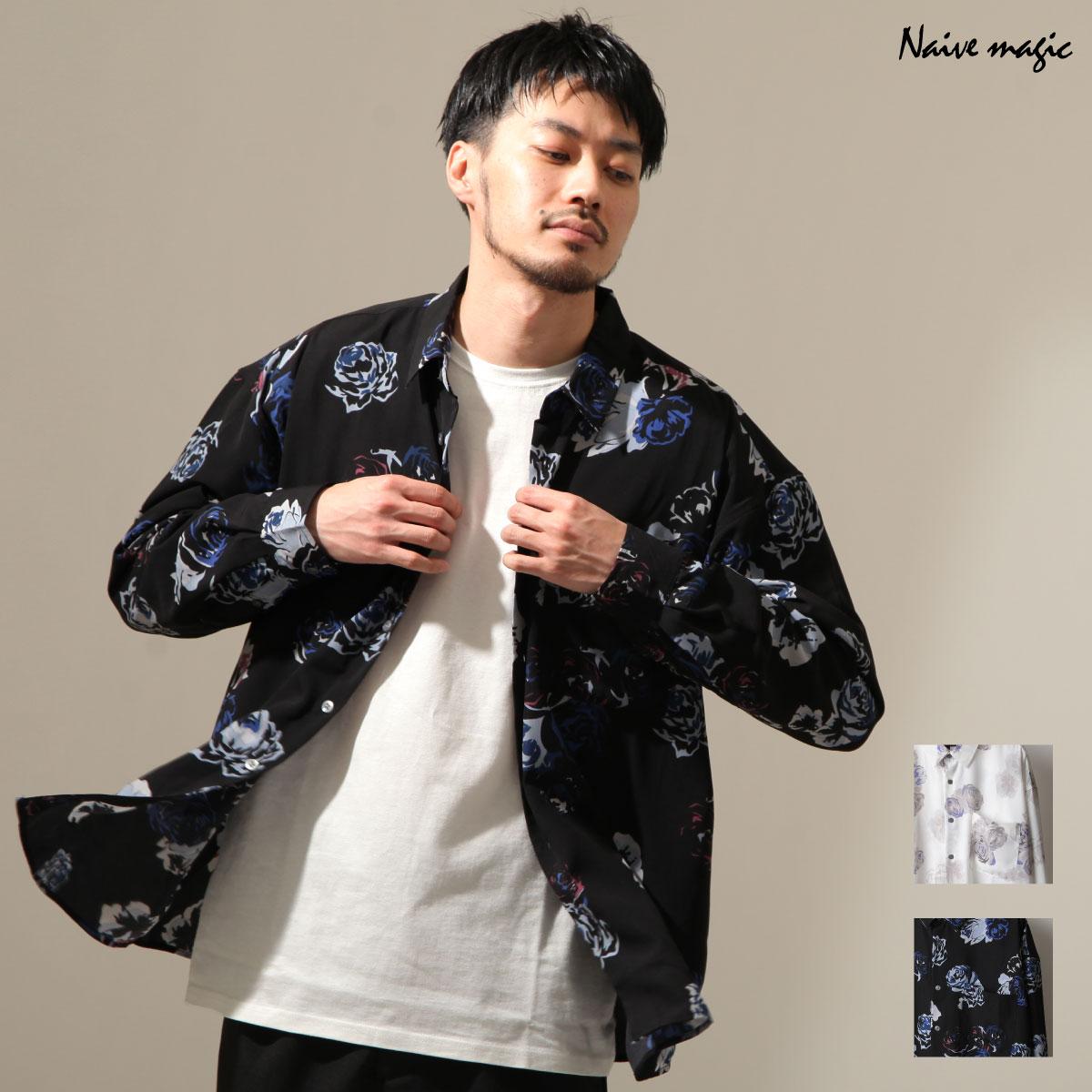 【New】ZIP 寬版長袖襯衫 花朵設計 0