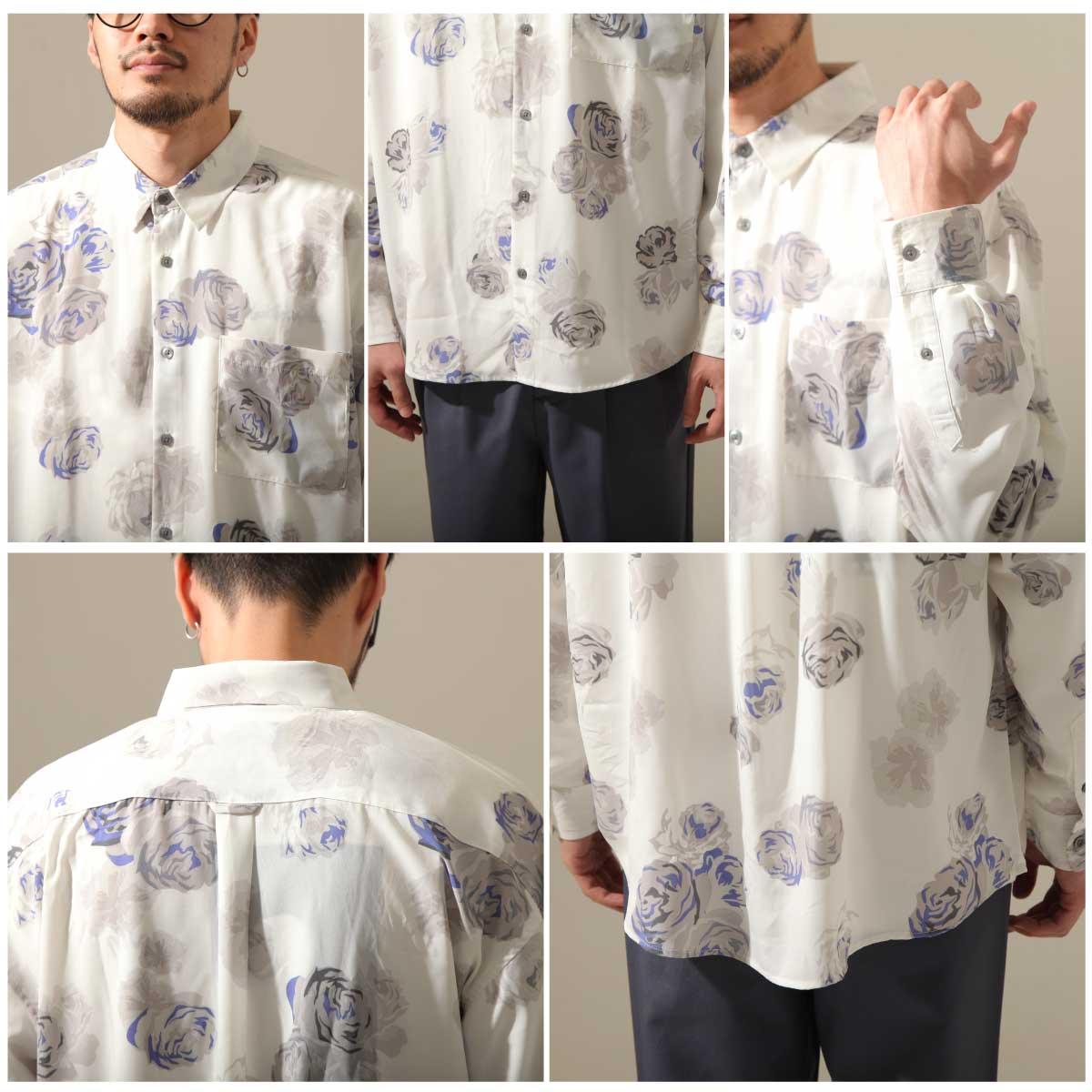 【New】ZIP 寬版長袖襯衫 花朵設計 4
