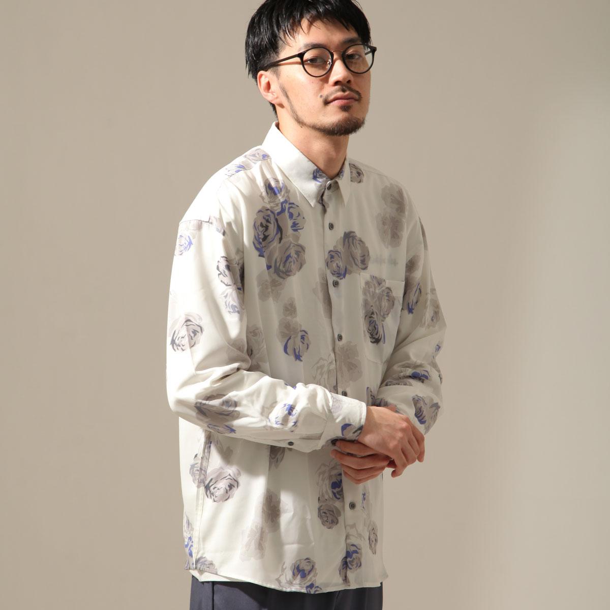 【New】ZIP 寬版長袖襯衫 花朵設計 1