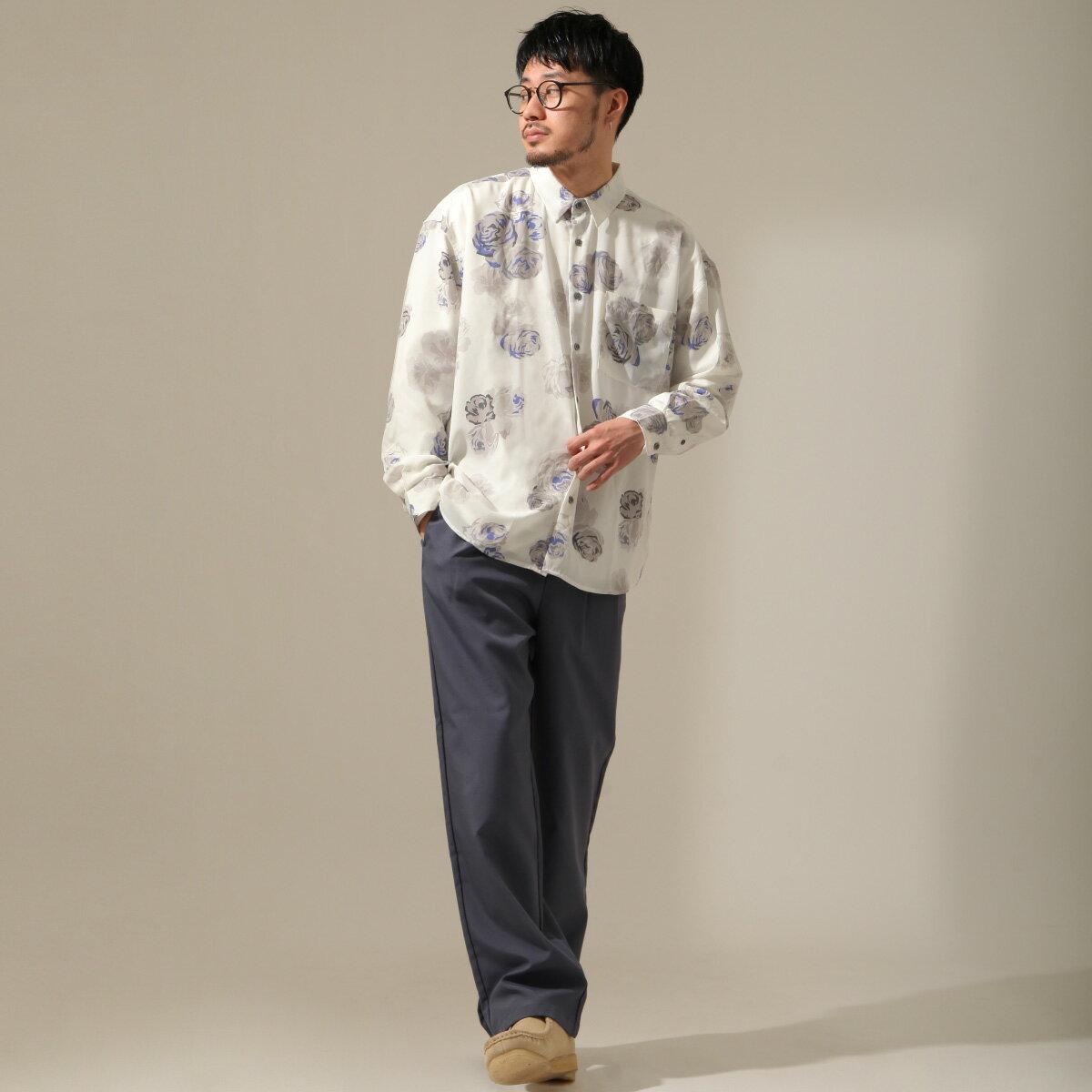 【New】ZIP 寬版長袖襯衫 花朵設計 5