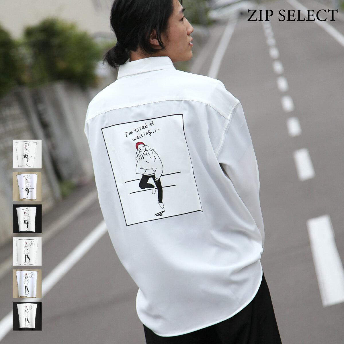 ZIP Select 背後插圖長袖BIG襯衫 0