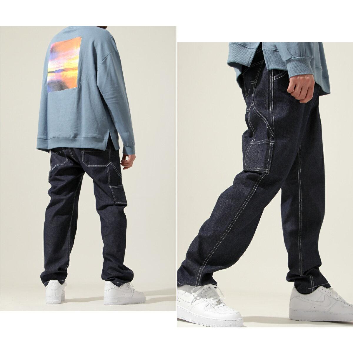 【New】ZIP 縫線工作褲 寬褲 4