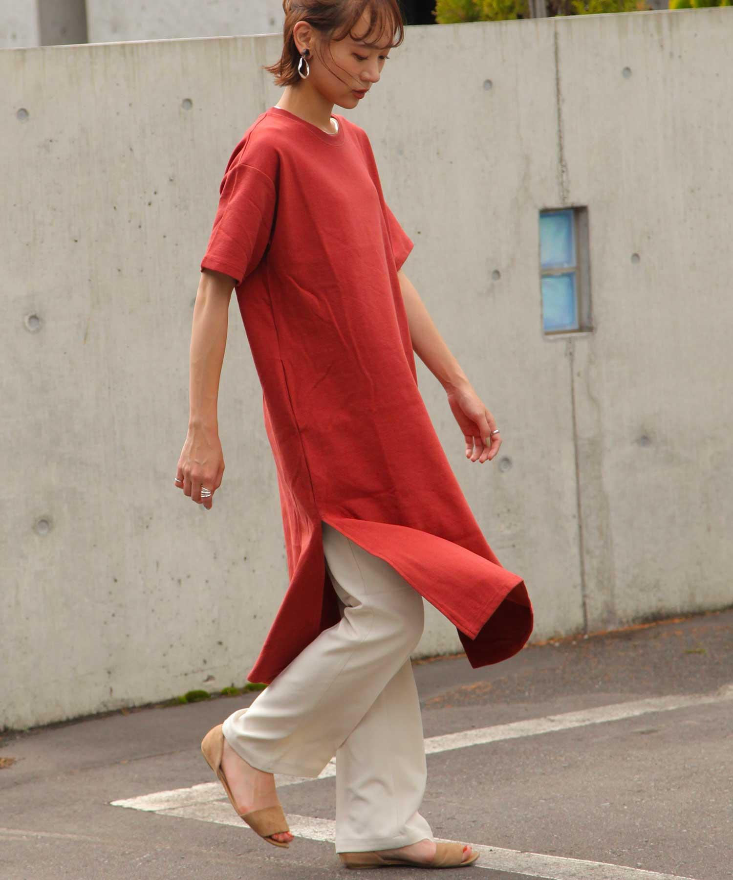 【Chillfar】兩側開岔短袖T恤洋裝 5