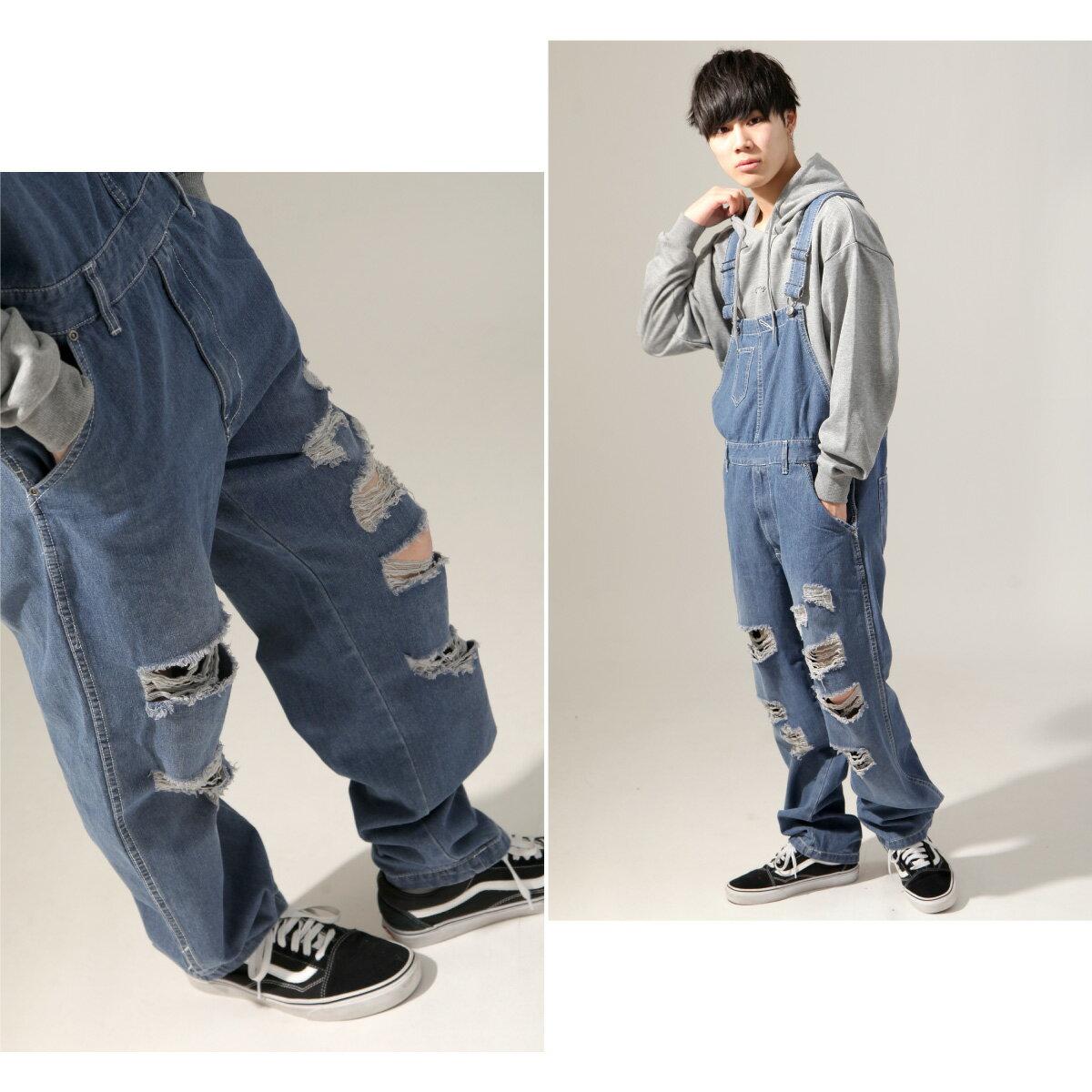 【New】ZIP 刷破丹寧吊帶褲 4