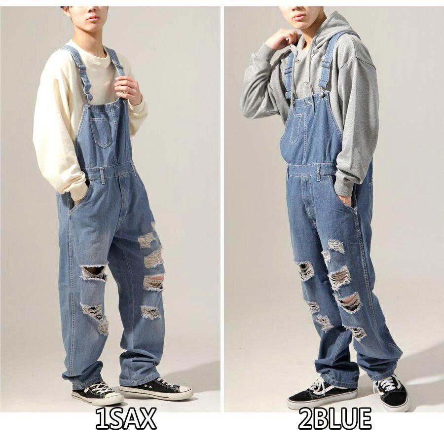 【New】ZIP 刷破丹寧吊帶褲 9