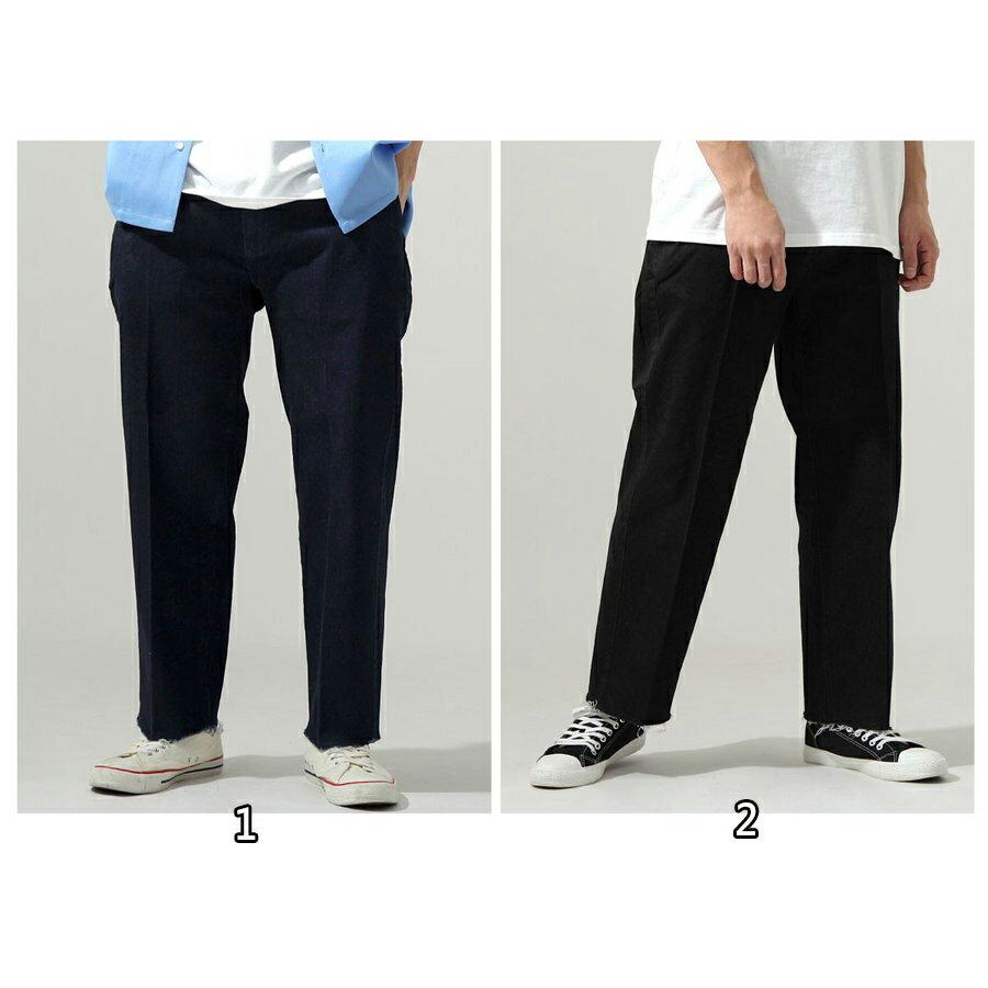 【New】ZIP 丹寧寬褲 立體折線 2