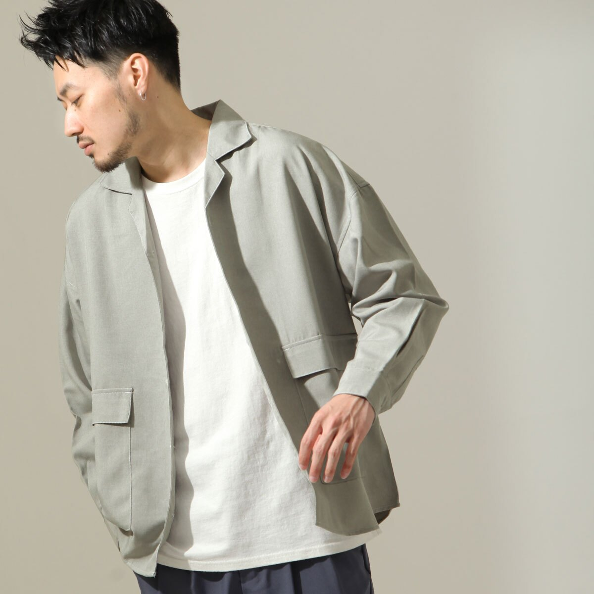 【New】ZIP 寬版開襟襯衫 縫線設計 8