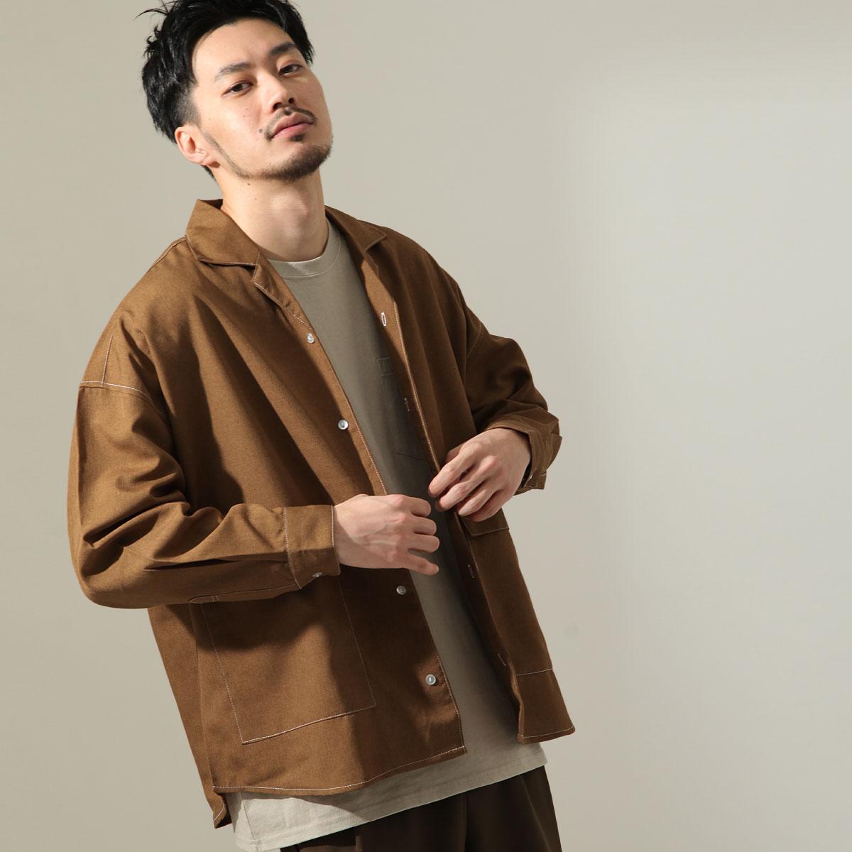 【New】ZIP 寬版開襟襯衫 縫線設計 1