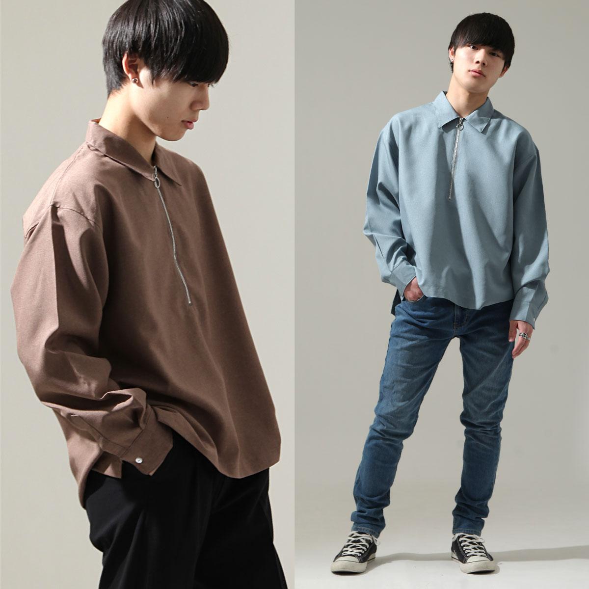 【New】ZIP 半拉鍊長袖襯衫 1