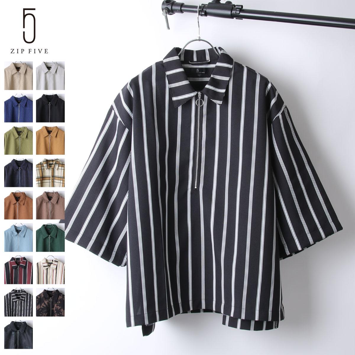 【ZIP】半拉鍊套頭衫 短袖 ZIP FIVE 襯衫 短袖 春裝 1
