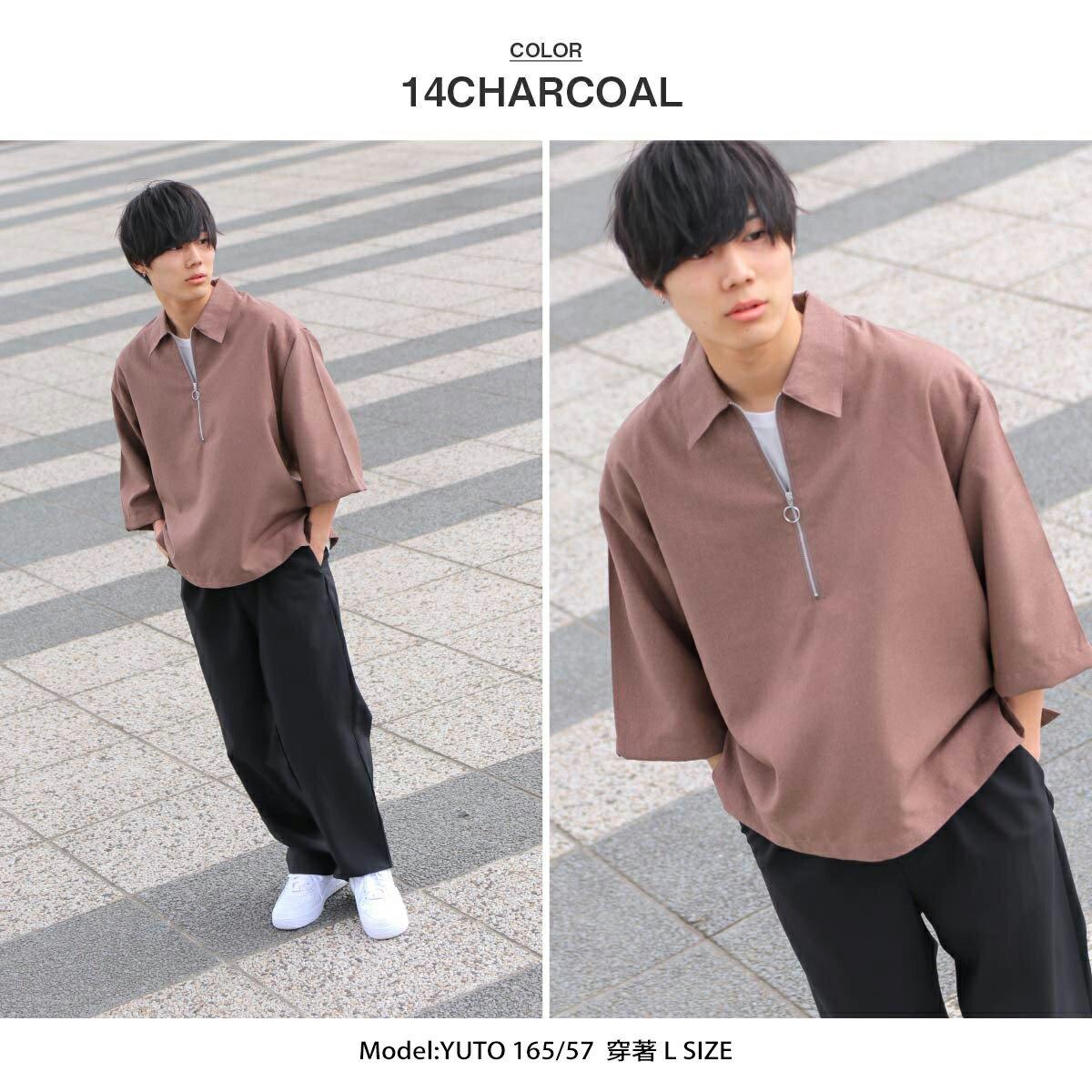 【ZIP】半拉鍊套頭衫 短袖 ZIP FIVE 襯衫 短袖 春裝 6