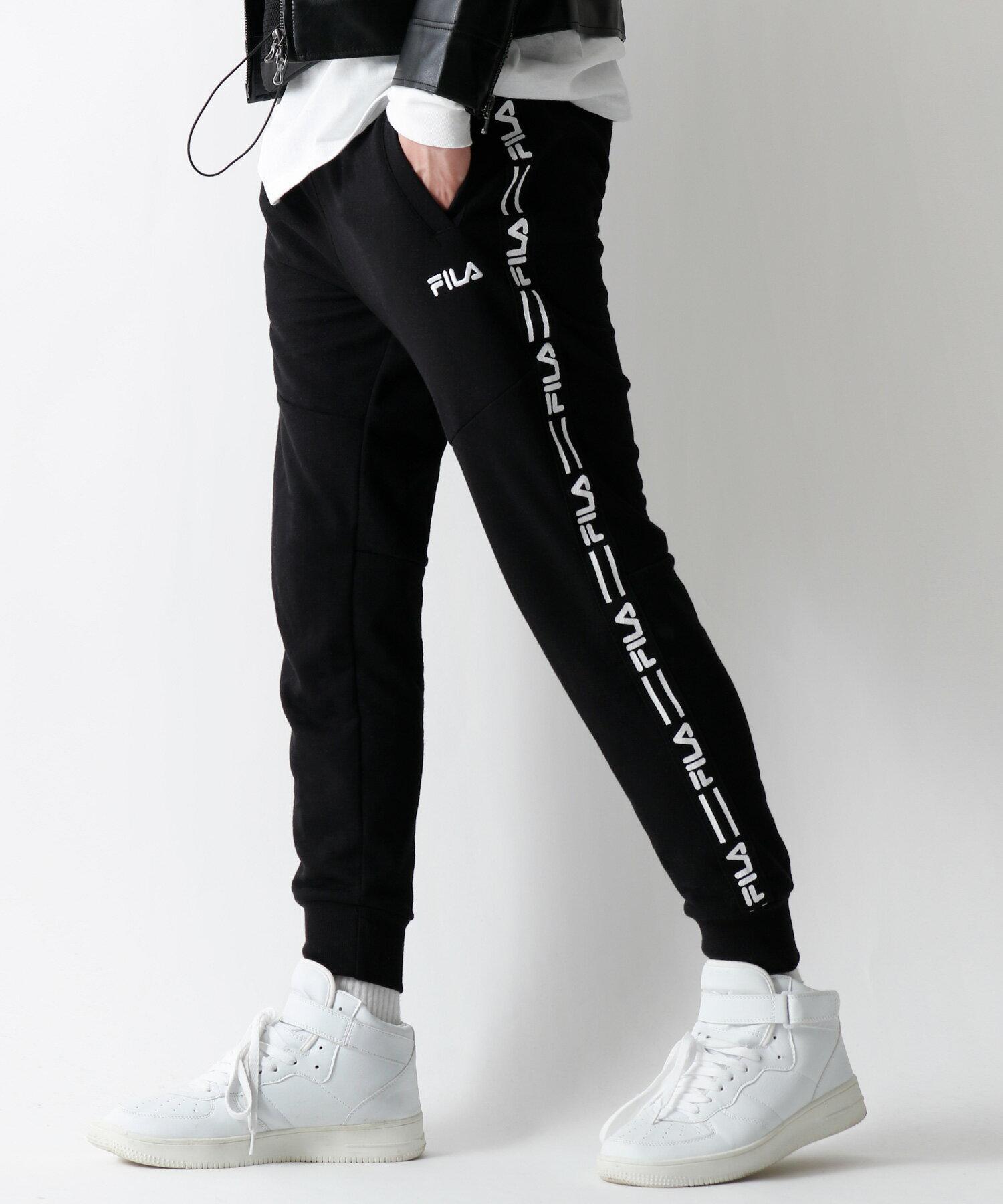 【FILA】LOGO貼條慢跑運動長褲 2