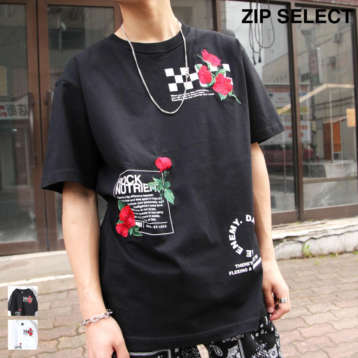 【New】ZIP 玫瑰刺繡短袖T恤 0