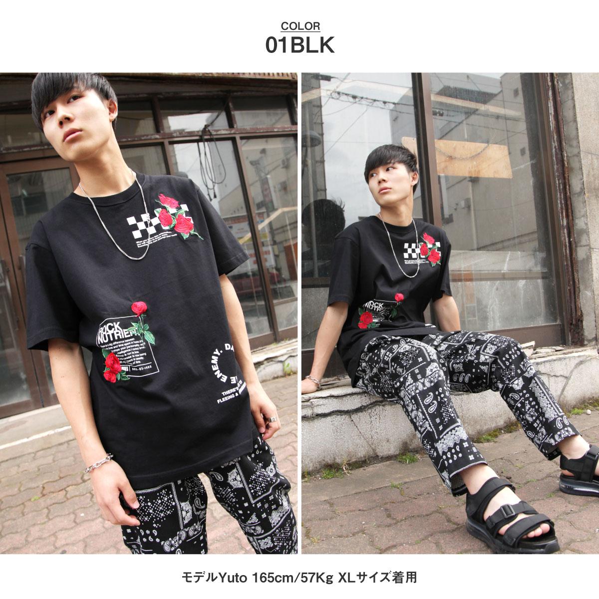 【New】ZIP 玫瑰刺繡短袖T恤 1