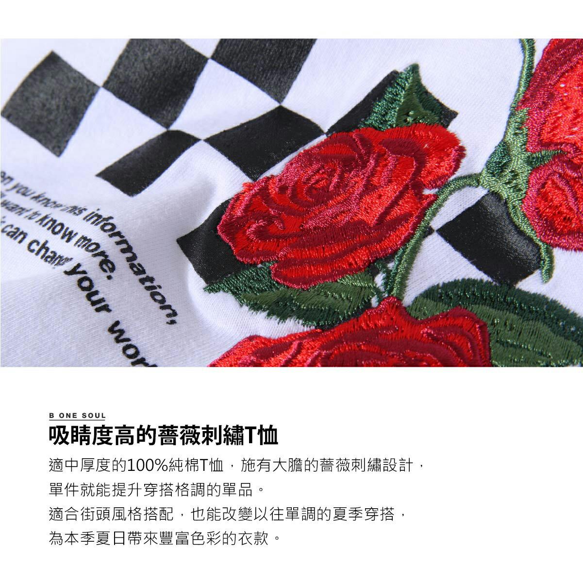 【New】ZIP 玫瑰刺繡短袖T恤 3