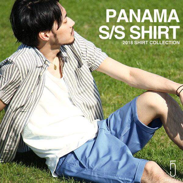 透氣襯衫短袖短襯衫伸縮彈性輕薄休閒自然短版標準領巴拿馬織上衣