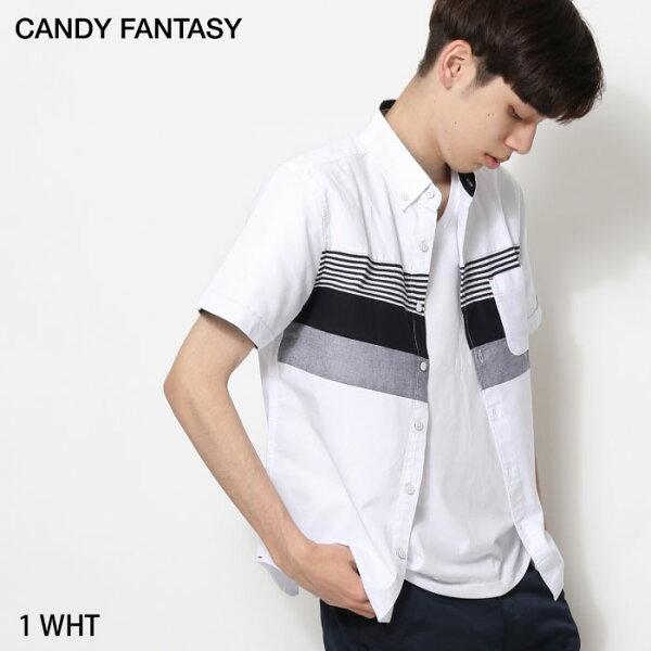 短袖襯衫異材質拼接
