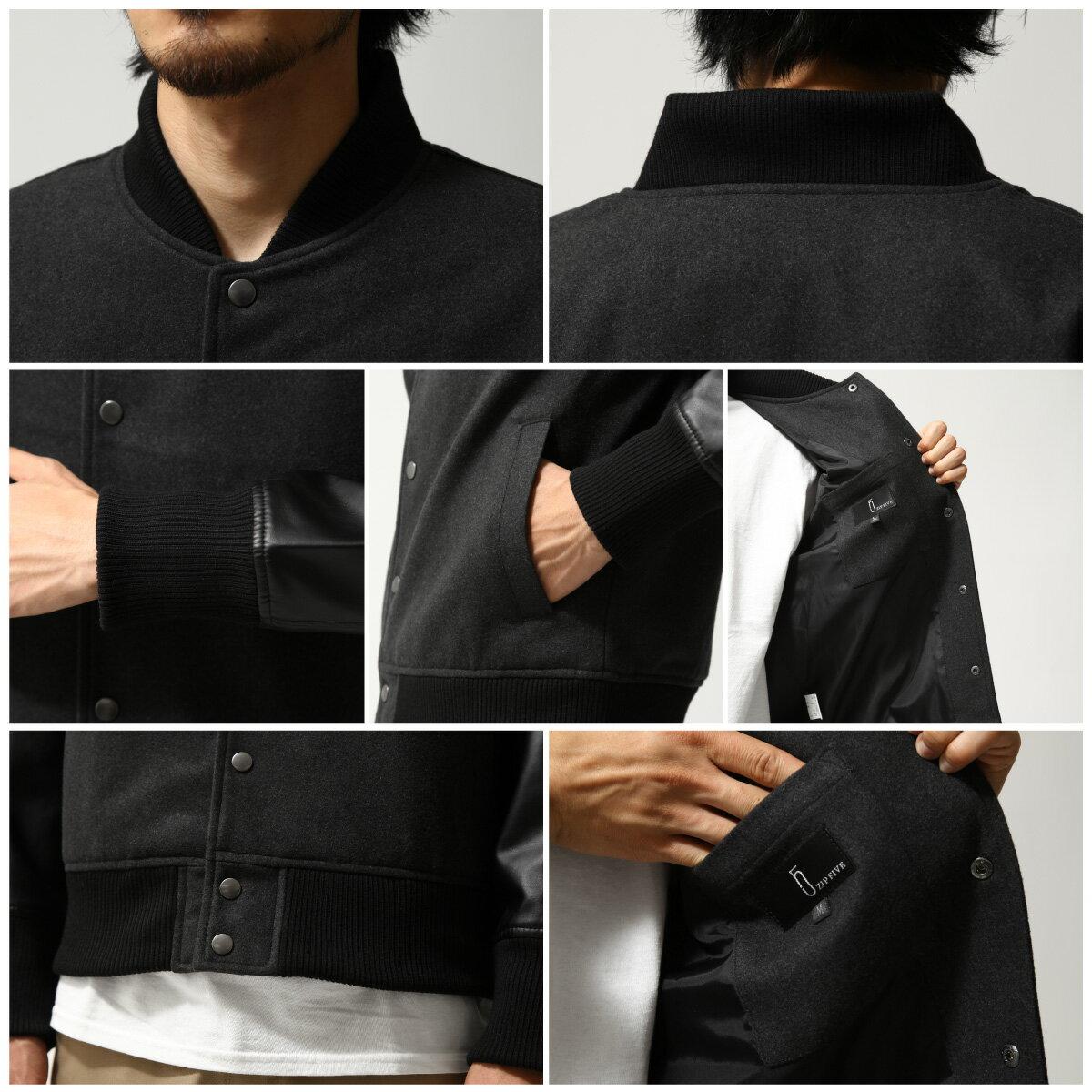 【現貨】 羊毛棒球外套 拼接皮革 4