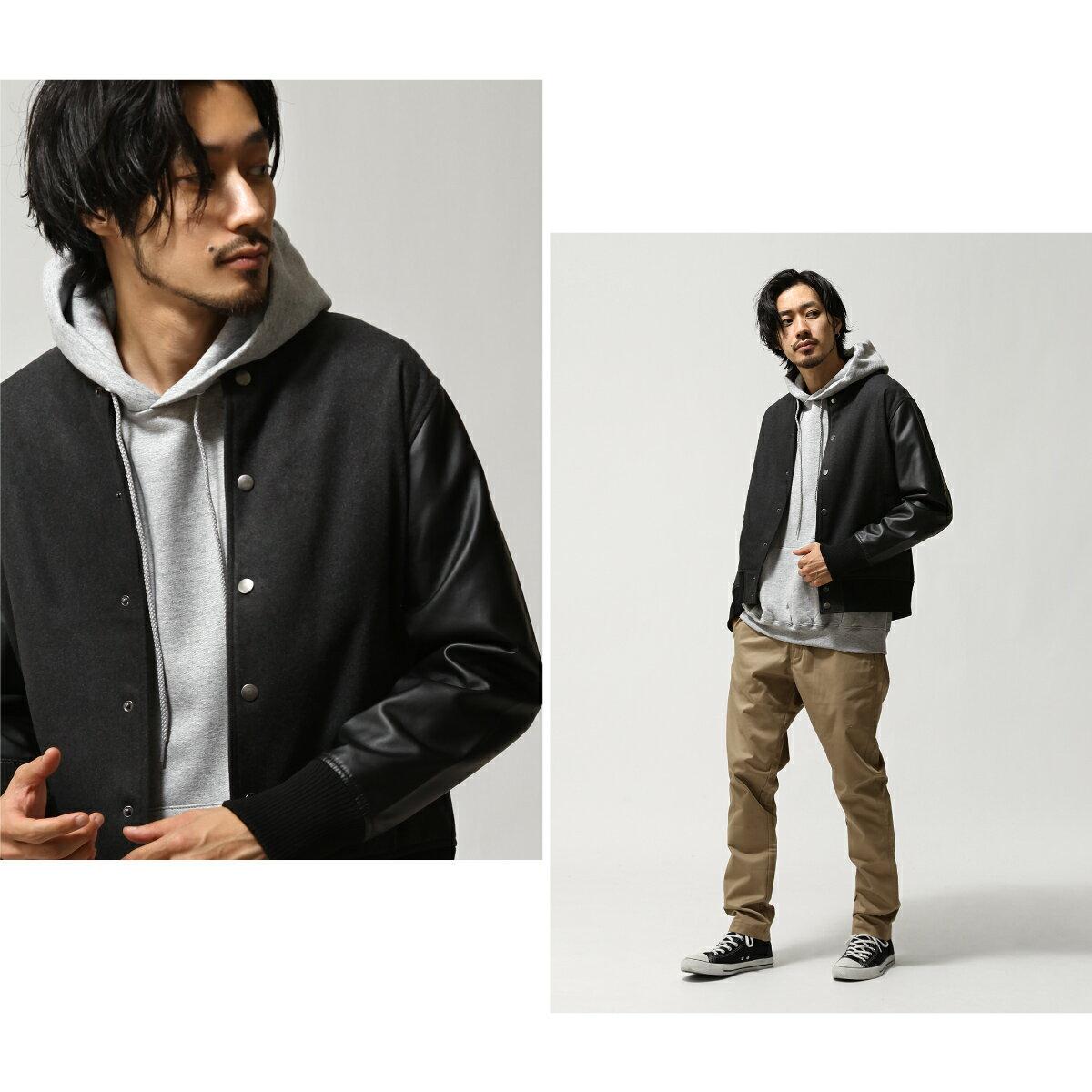 【現貨】 羊毛棒球外套 拼接皮革 6