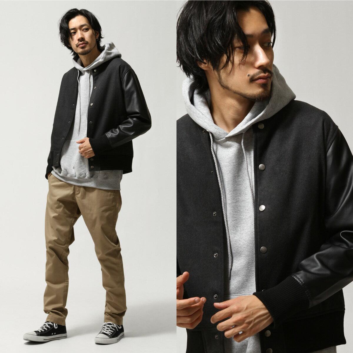 【現貨】 羊毛棒球外套 拼接皮革 0