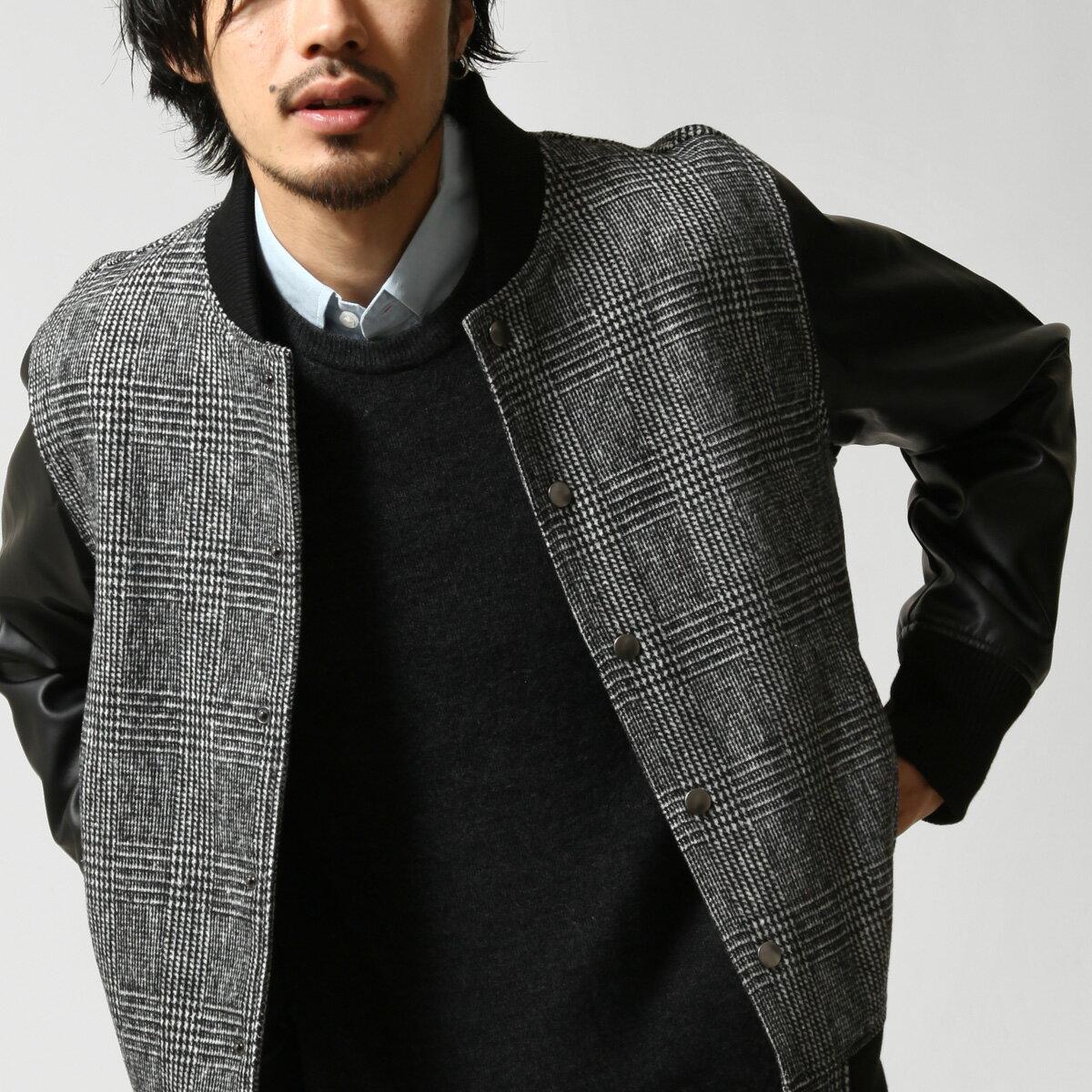 【現貨】 羊毛棒球外套 拼接皮革 8