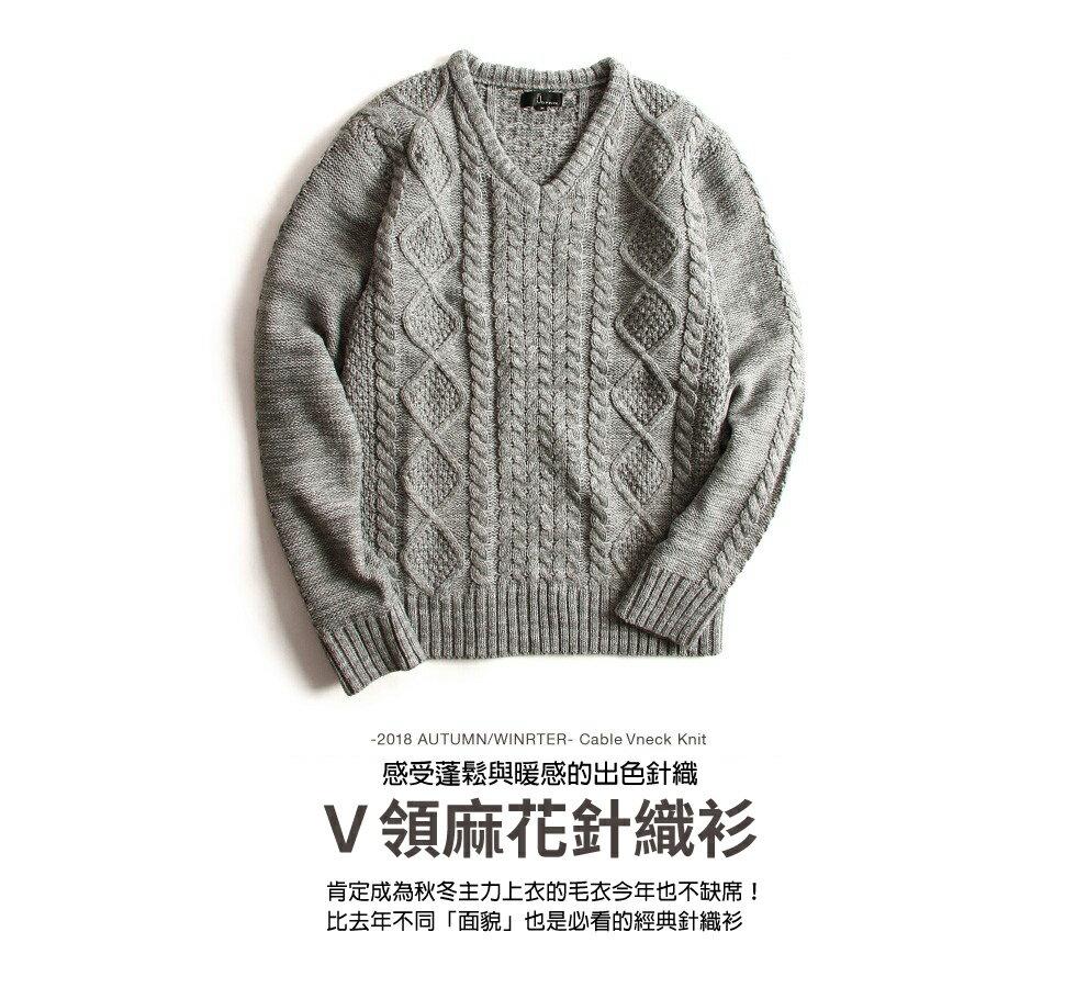 麻花編織針織衫 V領毛衣 7