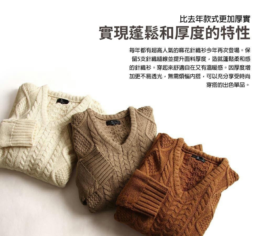 麻花編織針織衫 V領毛衣 8