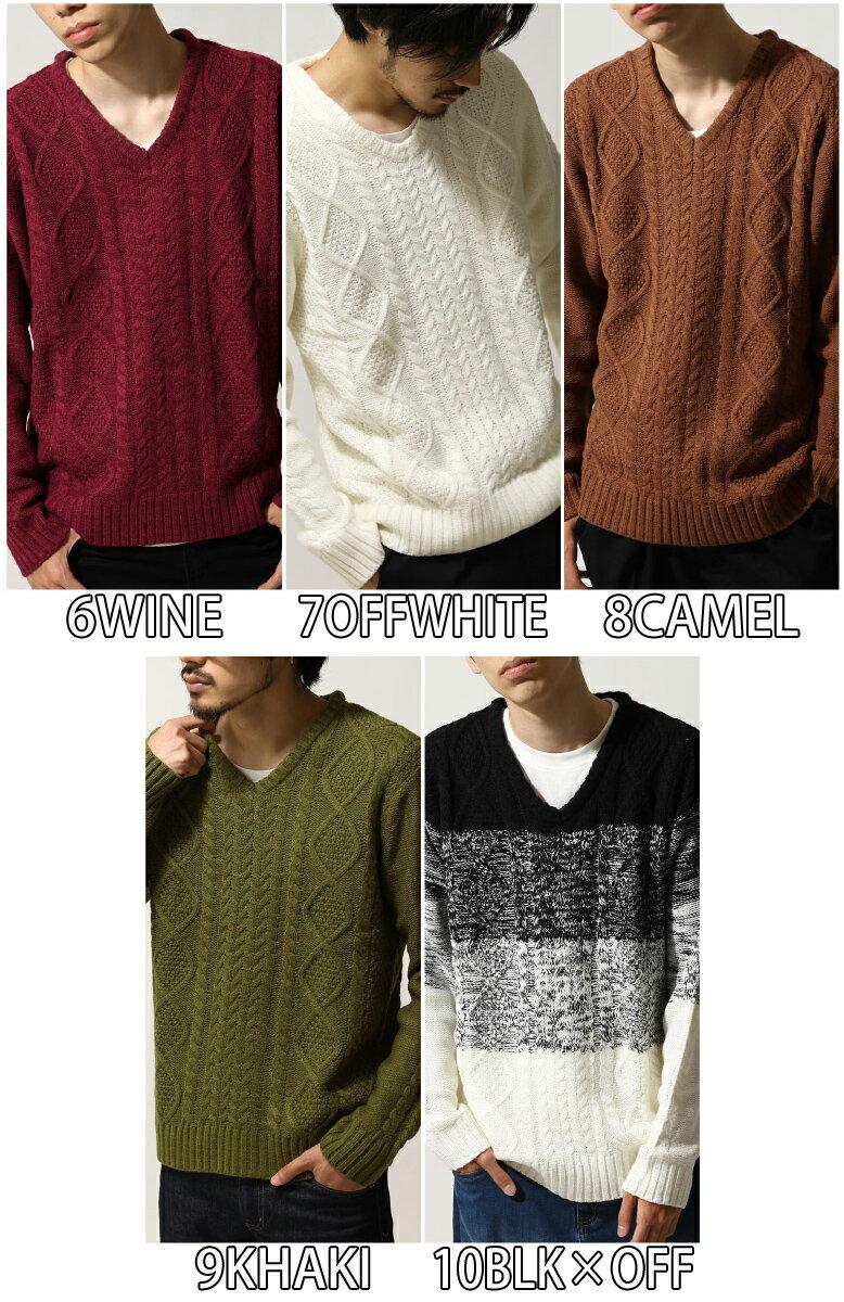 麻花編織針織衫 V領毛衣 4