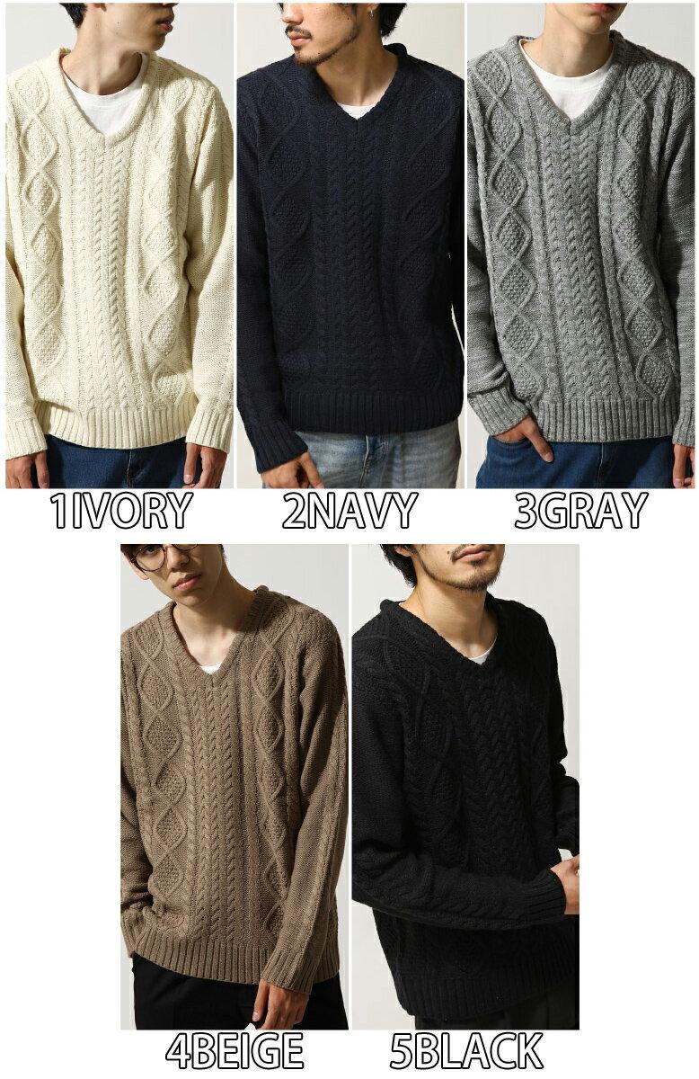 麻花編織針織衫 V領毛衣 3