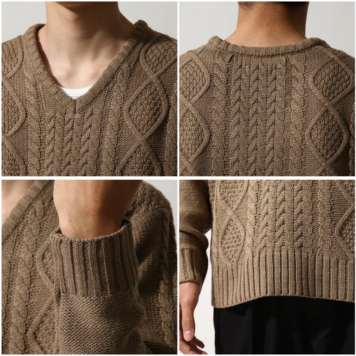 麻花編織針織衫 V領毛衣 6