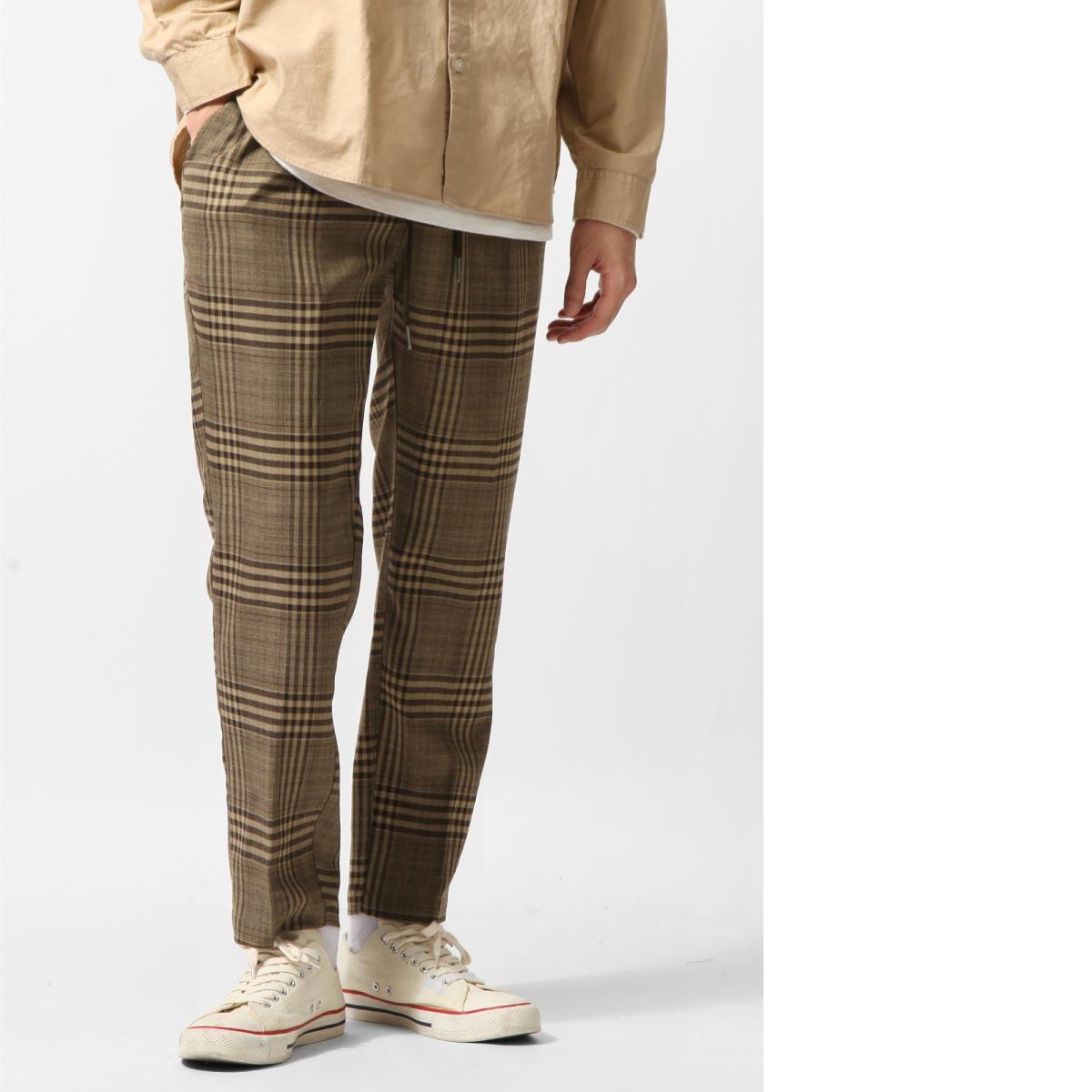 格紋錐形褲 鬆緊帶 7