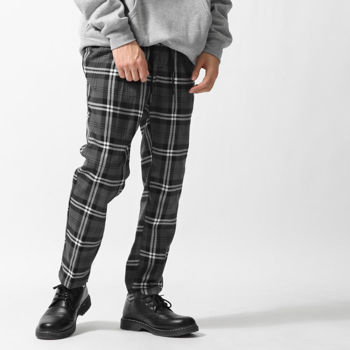 格紋錐形褲 鬆緊帶 1